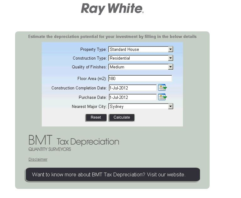 Tax Depreciation Calculator - Invest - Ray White Buderim